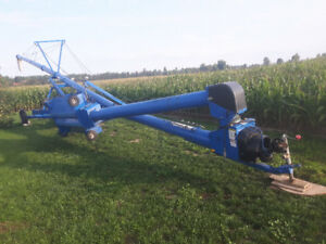 Brandt 10×80 Grain auger with swing hopper and  down spout