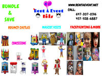 Mascots, face painter, bouncy castle, table & chair rentals