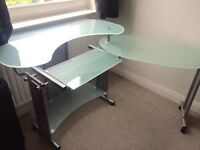 Extendable tempered glass desk