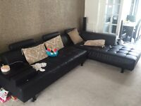 Leather Corner Sofa Black