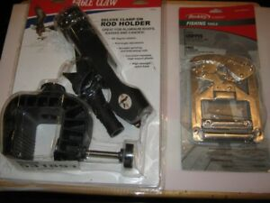 eagle claw deluxe clamp-on rod holder+fish gripper.$50both.