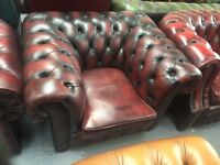 Vintage Pegasus oxblood leather Chesterfield club chair del available