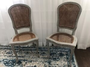 Pair of Antique Caned Louis Chairs from New Port Mansion
