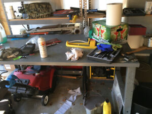 Metal table/work bench, Garage Rack 5 Shelves