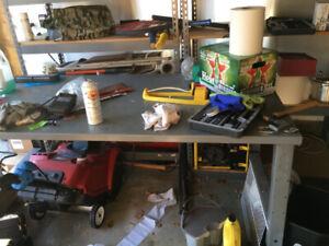 Metal table/work bench, Garage Rack 5 Shelves