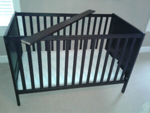 Espresso wood convertible crib WITH Mattress