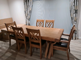 2m SOLID HEAVY OAK TABLE & 6 CHAIRS