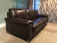 Leather 3 seater sofa, chocolate brown