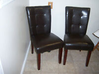 Two Espresso Parson Dining Chairs