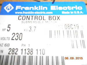 franklin electric control box submersible motor