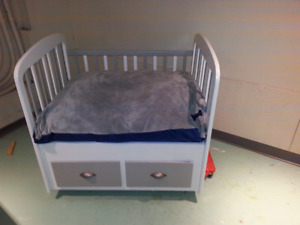 Dog bed made from baby crib