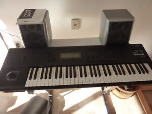 Korg T3EX synthesizer workstation and many accessories