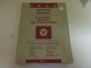 1986 CHRYSLER SERIES -ENGINE-CHASSIS-BODY -ELECTRICAL 3 MANUALS