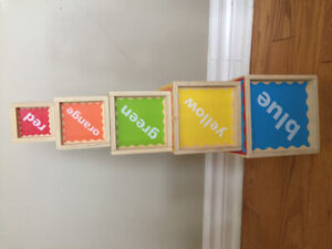 Hape tower of play wooden stacking cubes