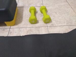 Steps + Dumbbell + Exercise Mat