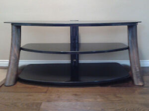 TV Stand with 3 level black glass with oak railings