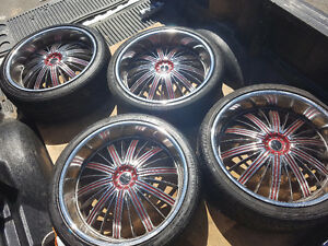"Elite 5 Bolt Universal 22"" Deep Dish Wheels & Tires 265/35/22"