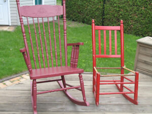 8 chaises antiques-chairs : berceuses, Canadiana, Windsor