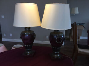 Two table lamps, burgundy with cream shades