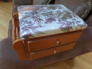 Cute sewing box footstool with floral top, like new.