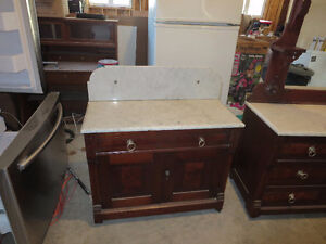 Antique Marble Top Wash Stand and Dresser with Mirror