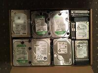 Various hard drives - 2TB, 1TB, 500GB, laptop / PC / Server