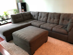 Charcoal Maier 2 Piece Sleeper Sofa Sectional with Ottoman