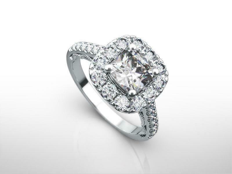 Authentic Cushion Shape Estate Diamond Halo Ring 2 Carats 14k White Gold Si1