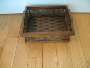 ADORABLE VINTAGE ['60's] DARK-STAINED WOODEN PET BASKET