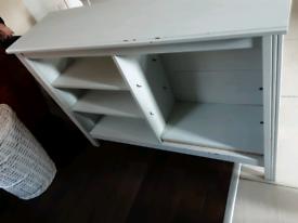 White ikea bookcase side unit tv stand shelves