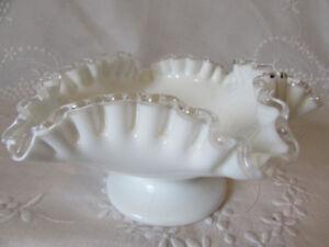 Vintage Fenton Silver Crest Milk Glass Pedestal Candy Dish