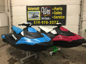 TWO 2016 SEADOO SPARK 3UP'S LOADED SEA DOO NEW DOUBLE TRAILER