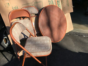 Card table and four folding chairs