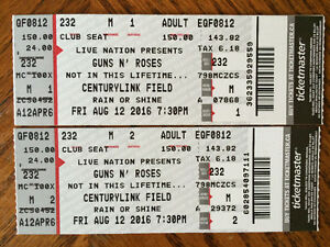 Guns and Roses tickets ... Not in this lifetime