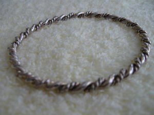 TWO THICK TWISTED ROPE-STYLE STERLING SILVER BANGLE BRACELETS