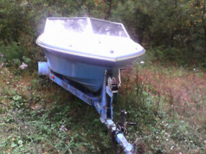 Grew boat trailer and 105 motor