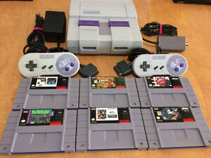 SNES + 2 Controllers + 6 Games