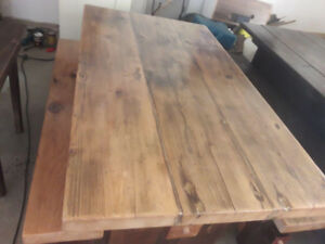 Wood dining tables. Reclaimed barnwood.