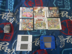 Nintendo 2ds and ds lite with chargers and 6 games