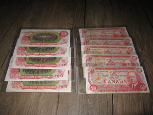 10x old 1975 $50 Canada RCMP Musical Ride Banknotes
