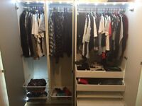 Ikea PAX wardrobe large white + full length mirrored doors + led lights
