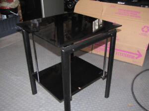 End Table and TV Stand both black and chrome