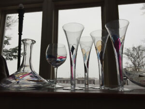 Crystal Glassware Set: Champagne glasses, Decanter, and Bowl