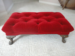 Red Tufted Foot Stool