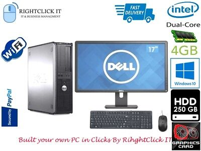 """DELL/HP DUAL CORE DESKTOP TOWER PC COMPUTER with LCD 17"""" WINDOWS 10 ,4GB,250GB"""
