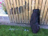 Full set of golf clubs irons, driver, 5 wood & bag. Good condition