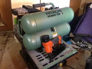 Hitachi twin tank compressor and 18 gauge brad nailer