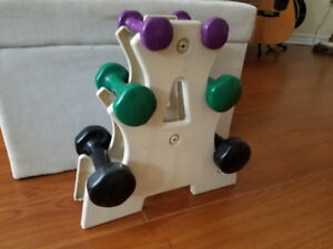 SET of 6 (3 pairs) DUMB BELL SET with STAND