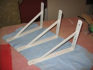white steel metal brackets