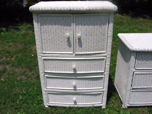 White wicker armoire